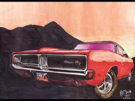 1969 Dodge Charger Evening by FastLaneIllustration