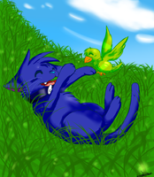 Playing in the grass by Syoshi