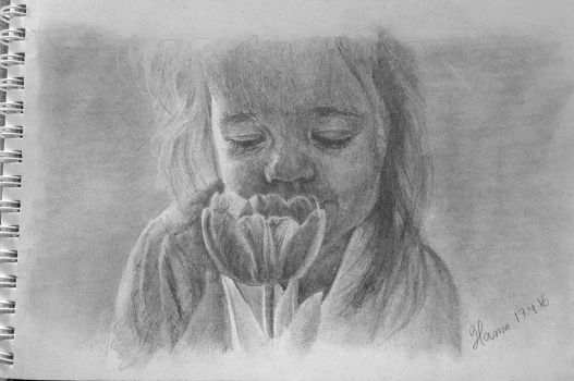 Little girl smelling a flower by hurmeArt