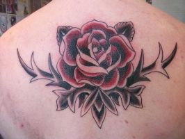 traditional rose tattoo by LianjMc