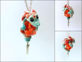 Pearl + Blue Dice Dragon on Red D20 - Necklace by Euphyley