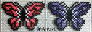 Red and Purple Butterflies by PerlerPixie