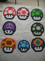 Perler Beads Mario Mushrooms by kiskekokanut