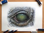 Crocodile Eye Color Pencil Drawing by AtomiccircuS