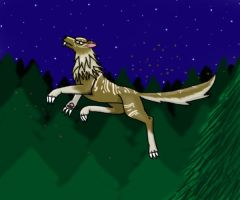 Jumping Wolf by CursedNight