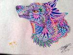 Ornamented Collorful Wolf by wo0lfiitacullen