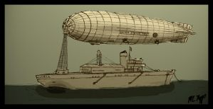 USS Howell and Dirigible by The-Necromancer
