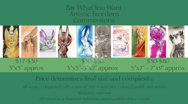 Artistic Freedom Commissions OPEN by Ishaway
