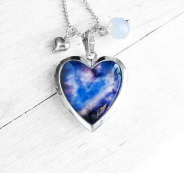 Handmade Resin Blue and Purple Galaxy Heart Locket by crystaland