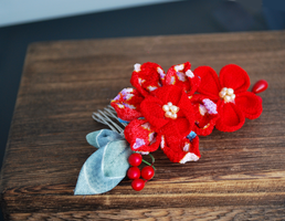 Red Chirimen Lotus Kanzashi by hanatsukuri