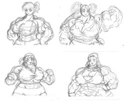 Poke Muscle Babes by MightyKnightBR