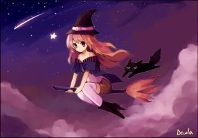 Witch and Cat by Pekobell