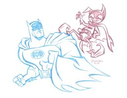 COMMISSION: BATB Batman and Bat-Mite by StephenBJones