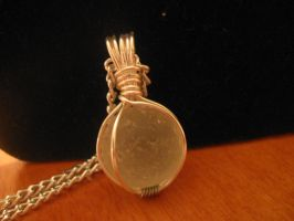White Sea Glass Marble Wire Wrapped Necklace by Katlynmanson