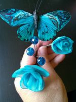 Blue Butterfly Garden Hair Pins by mermaidencreations