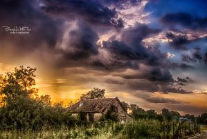 -Old house and  stormy sky- by Piroshki-Photography