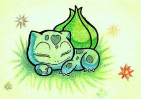 ACEO Sleeping Bulbasaur by Gallade007