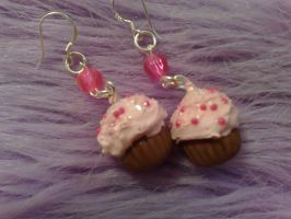 pink cupcakes earrings by PinkCakes