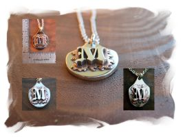 Hand Fabricated M Pendant by metaltamer