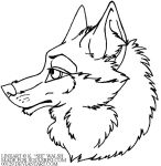 free wolf headshot lineart by 00129