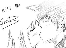 manga drawing -- kiss scene by faustsketcher