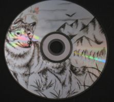 Wolf Carved on CD by ArtCrazy24-7