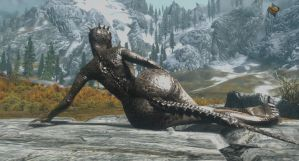 Argonian lying on a rock by Drake2017
