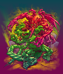 BIG ANGRY MONSTERS box cover color by pop-monkey