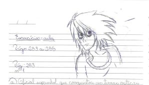 Bored at School Class #13- Lawliet on my notebook by ManatheDMG