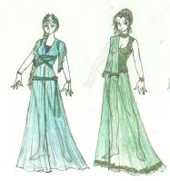 Outfit Sketch : SoR : Blue and Green by mitsuki0tennyo