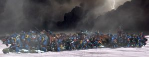 Space Wolves army on the move by DarkenJax