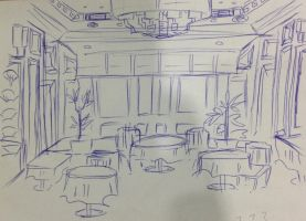 Restaurant Drawing by JuniCole