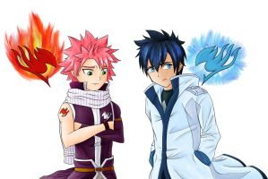 Fairy Tail - Natsu and Gray by xChaos-Angel