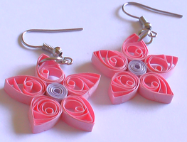 Pink Paper earrings by Craftcove