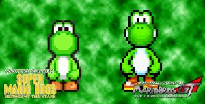 Different Yoshi sprites in Different Series... by KingAsylus91
