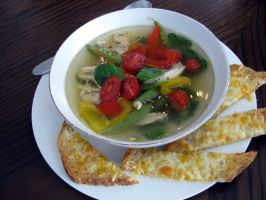 Chicken vegetable soup with cheese toast by chrisravensar