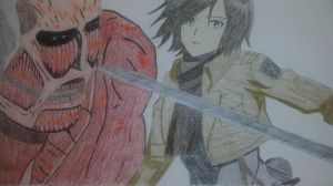 Mikasa Ackerman with the Colossal Titan by Soothfast