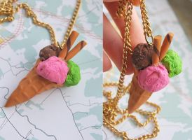 Ice Cream Cone necklace 2 by Madizzo