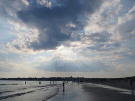 Second Beach with Sun Behind Clouds by Charlief43