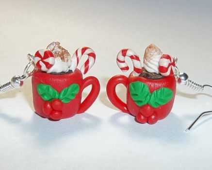 Polymer Clay Peppermint Mocha Earrings by CraftMuse