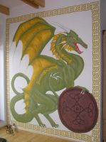 Dragon on the wall by Holymain