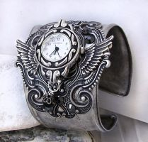 Steampunk Watch Silver Black by Aranwen