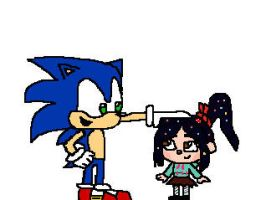 Sonic and Vanellope by RocketSonic