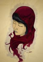 Red Maroon Veil by frixinthepixel