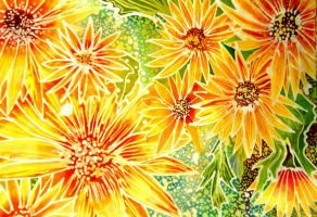 Batik Yellow Flowers by dawndelver
