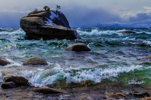 A Winter Storm Over Tahoe's Bonsai Rock by sellsworth