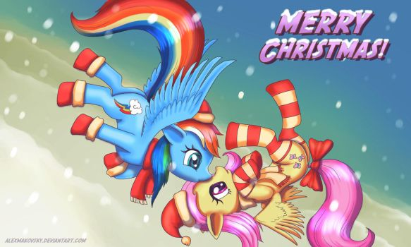 Merry XMas Flutty n Rainbow by alexmakovsky