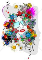 floral woman silhouette by brish08