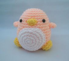 Peach Crochet Penguin Amigurumi by StitchedLoveCrochet