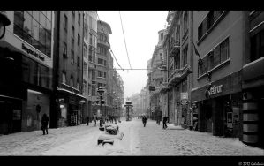 Knez Mihailova at Winter bw by Golubovic36